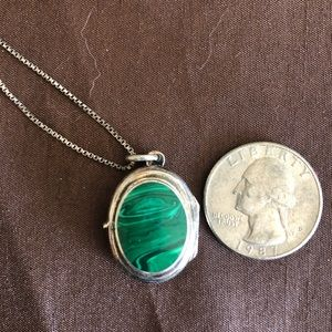 Sterling silver malachite locket with chain